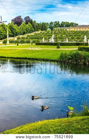 Sanssouci Palace with lake in Potsdam, Germany