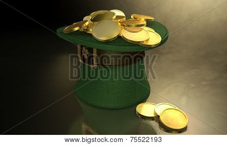 Green Leprechaun Hat Filled With Gold Coins