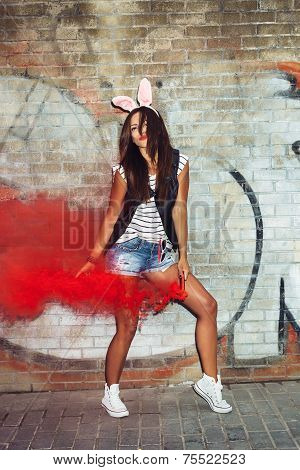 Sexy Girl In Pink Rabbit Ears Dancing  With Red Smoke Bombs