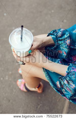 Woman With Glasses Drinking Milkshake