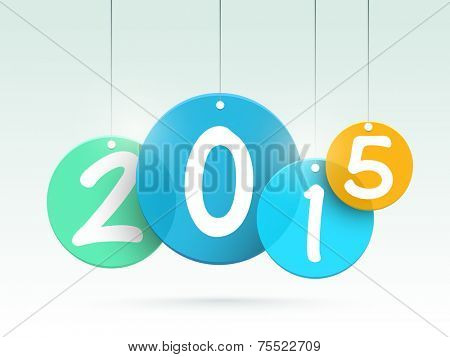 Stylish hanging text of 2015 numbers on shiny background for Happy New Year celebrations.