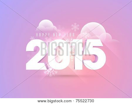 Happy New Year 2015 text design on snowflake and clouds decorated purple background, can be used as poster, banner or flyer.