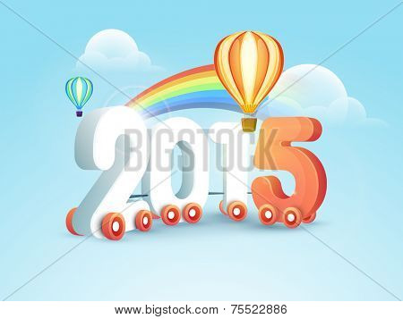 Stylish numeral text 2015 on wheels with hot air balloons and rainbow on nature background for Happy New Year celebrations, can be used as poster, banner or flyer.