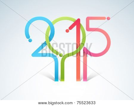 Poster, banner or flyer design with stylish numeral text 2015 for Happy New Year celebration on blue background.