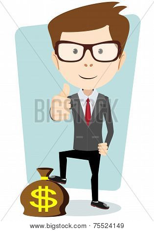 Businessman Standing on the Bag with Dollars, Vector