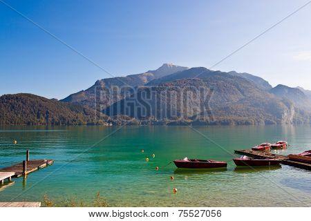Boats on Wolfgangsee lake