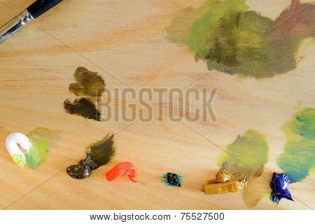 Wooden Palette With Oil-Based Paints