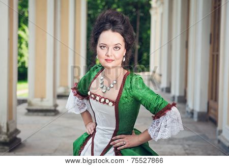 Beautiful Woman In Green Medieval Dress
