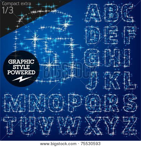 Vector christmas font characters of a shining stars. Compact bold. File contains graphic styles available in Illustrator