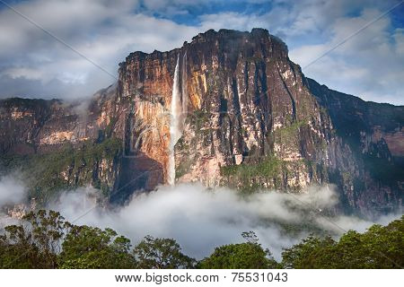 Closeup Of The Highest Waterfall In The World - Angel Falls