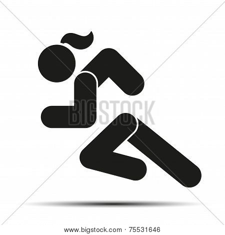 Running woman simple symbol of run isolated on a white background.