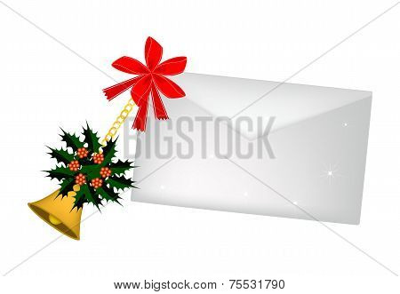 Golden Bell and Christmas Holly with A Letter