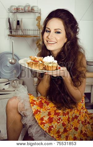 crazy real housewife on kitchen smiling eating