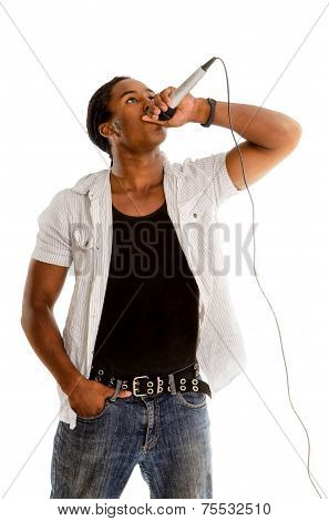 African American Vocalist With Microphone