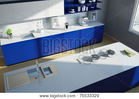 Modern clean blue kitchen island from above (3D Rendering)