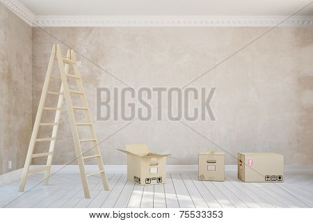 Empty room in apartment during relocation with ladder and moving boxes (3D Rendering)