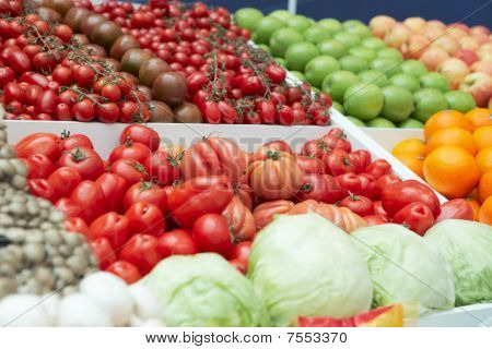 Vegetables And Groceries In Supermarket