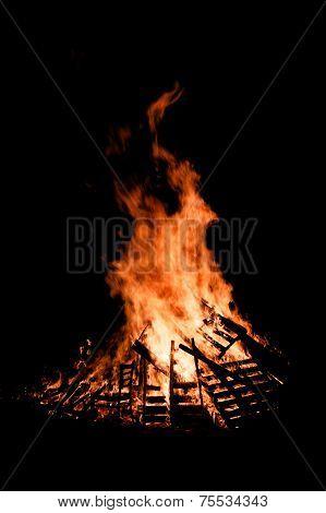 Guy Fawkes Night Bonfire Burning At Night