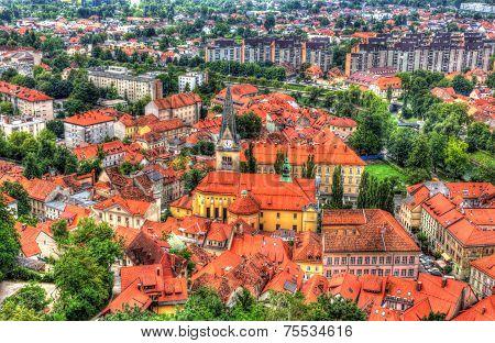 Aerial View Of Cerkev Sv. Jakoba In Ljubljana, Slovenia