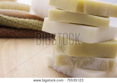 Green and White Handmade Soap