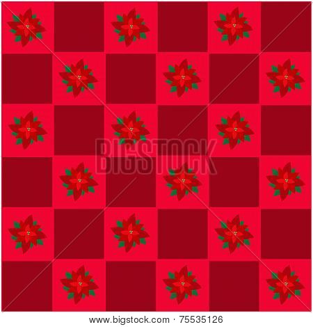 Poinsettia Flower in Red and Maroon Chess Board