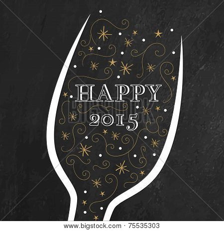 Golden New Year's background. Champagne glass