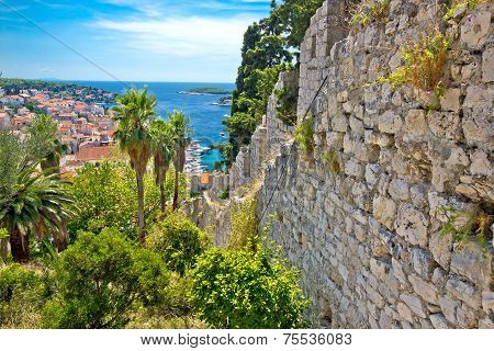 Famous Hvar Island Wall And Harbor View