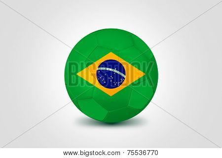 Soccer ball with Brazilian flag isolated on white