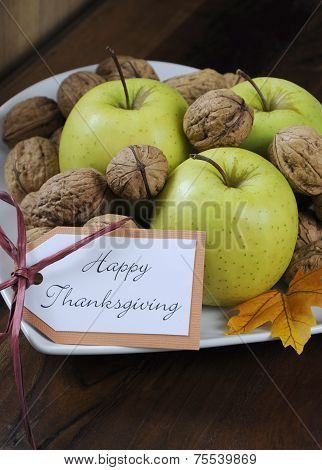 Happy Thanksgiving Autumn Fall Harvest Fruits With Green Apples And Walnut Nuts In White Heart Shape