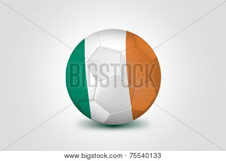 Soccer ball with Ireland flag isolated on white
