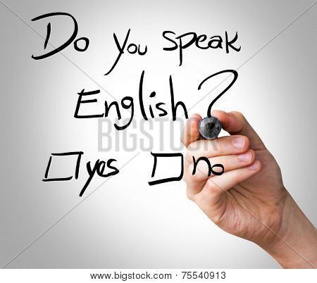 Hand writing Do You Speak English with black marker on transparent wipe board