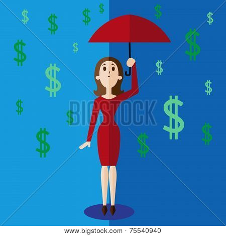 Money rain vector illustration in flat style.