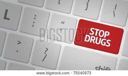 Computer keyboard with word Stop Drugs