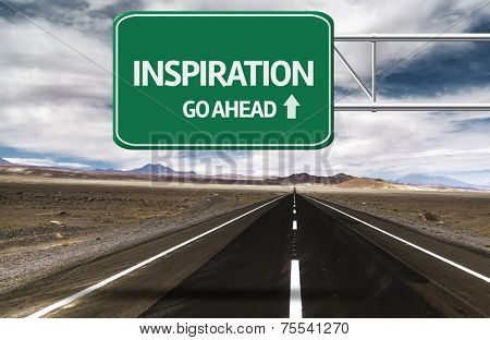 Amazing Road with a creative sign with the text - Inspiration, Go Ahead