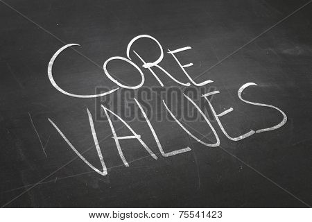 Blackboard with the text Core Values