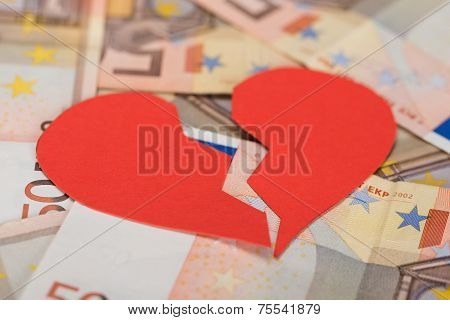 Broken Heart On Euro Banknotes