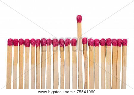 Row Of Match Sticks With One Coming Up