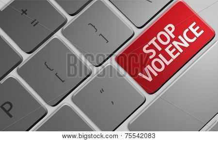 Computer keyboard with word Stop Violence