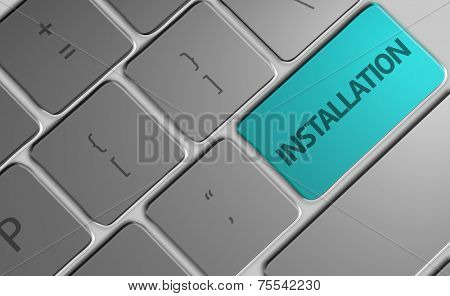 Computer keyboard with word Installation