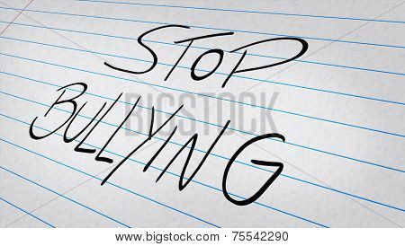 Stop Bullying written on a note pad