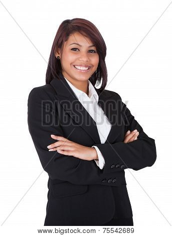Happy Businesswoman Standing Arms Crossed