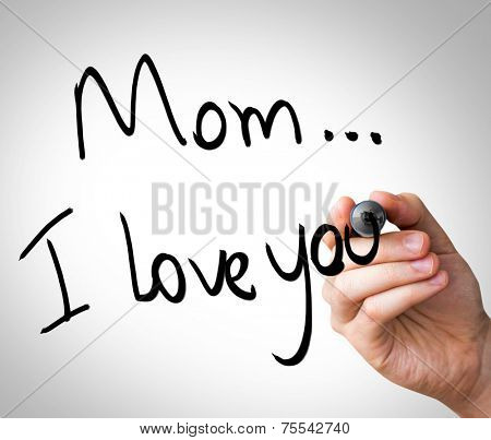 Hand writing with black mark on a transparent board - Mom, I love You