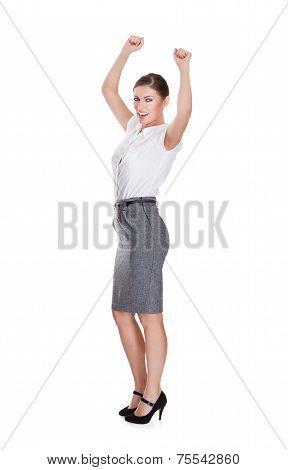 Successful Businesswoman Standing Hands Raised