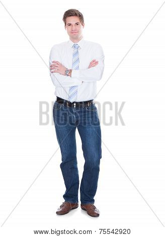 Confident Businessman Against White Background