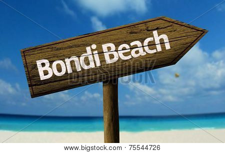 Bondi Beach, Australia wooden sign with a beach on background