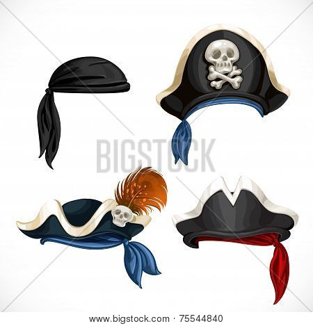 Set Of Pirate Hats And Bandana With Jolly Roger 1