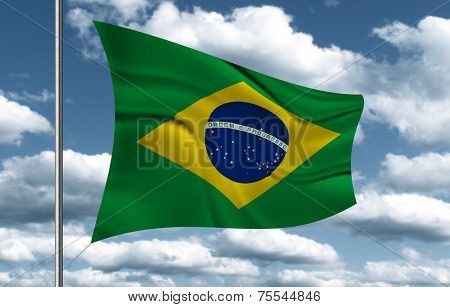 Brazilian Flag on sky background