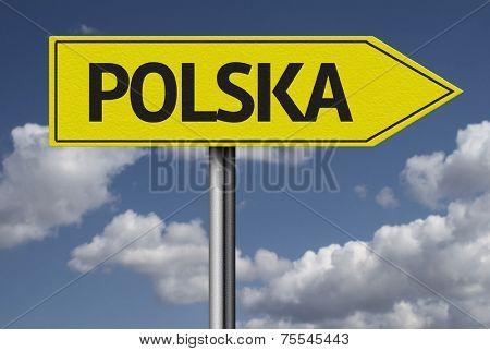 Concept for travel subject - Polska (Poland) yellow sign
