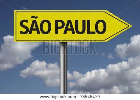 Concept for travel subject - Sao Paulo, Brazil yellow sign