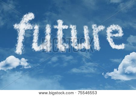 Amazing Future text on clouds
